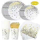 DreamJing 60pcs Vaisselle Jetable Blanc et Or- Assiette Fourchette Cuillère Gobelet en Papier Serviette en Papier pour Anniversaire Mariage Service 10 invités by