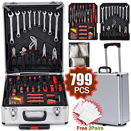 Yaheetech 799tlg Werkzeugkasten mit Werkzeug Universal Werkzeugset Werkzeugkoffer Trolley