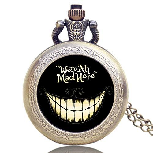 Alice im Wunderland Taschenuhr, Bronze-Halskette, Quarz-Taschenuhr für Herren -