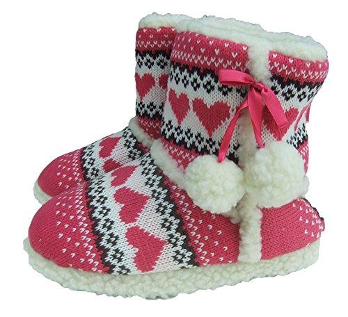 Slumberezz warm boot slippers pretty heart design for women (Medium 5-6, Pink)