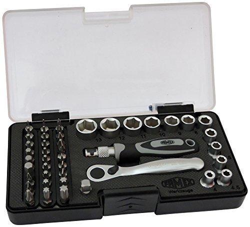 Famex 595-45 Jeu d'embouts de clé à douille avec mini-cliquet 72dents, 45 éléments, 1pièce
