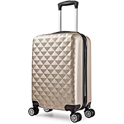 Valise 46 cm trolley cabine ABS bagage cabine rigide 4 roues avion ryanair 4 couleurs 40L(champagne)