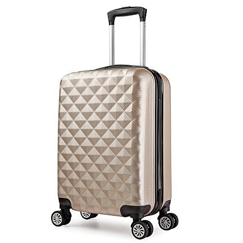 Valise 55 cm trolley cabine ABS bagage cabine rigide 4...