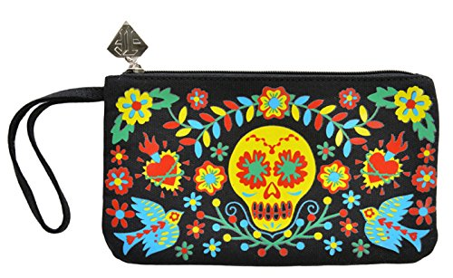 TooFast CARRIE Sugar Skull Mexican Embroidery Tasche / CLUTCH Rockabilly Schwarz mit buntem Print