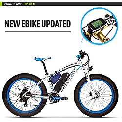 Eléctricas Bicicletas TP022 1000W Motor 48V 17Ah Batería de Litio-ion 7 niveles de Pedal asistido LCD Speedometer Tachometer Motorcycle 26 '' * 4''inch neumático graso Hombre ebike Ciclismo todo terreno Azul