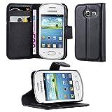 Cadorabo Hülle für Samsung Galaxy Pocket 2 - Hülle in Phantom Schwarz – Handyhülle mit Kartenfach und Standfunktion - Case Cover Schutzhülle Etui Tasche Book Klapp Style