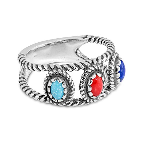 American West 925 Sterling Silver Blue Turquoise Lapis Red Coral Band Ring- Size 5 to 10 - Classics Collection -