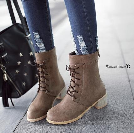 &ZHOU Bottes d'automne et d'hiver courtes bottes femmes adultes Martin bottes Chevalier bottes a9 Brown
