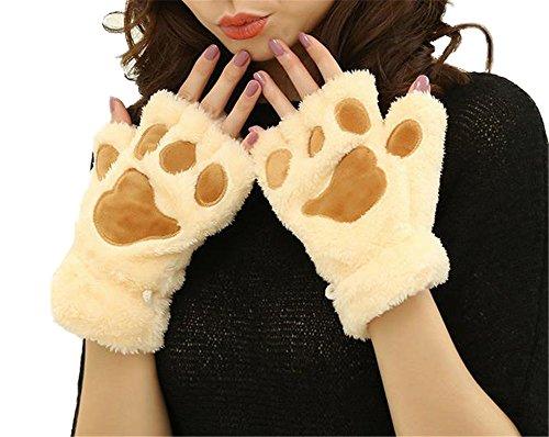 Plüsch Paw / Claw Handschuh Neuheit Halloween Soft Toweling Half Covered Damen Handschuhe Fäustlinge (2) (Gutes Essen Halloween)