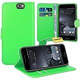 HTC One A9 Handy Tasche, FoneExpert® Wallet Case Flip Cover Hüllen Etui Ledertasche Lederhülle Premium Schutzhülle für HTC One A9 (Grün)