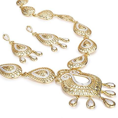 Rossetti Chandelier Set, Filigree Pear Drops in Rhodium Highlights, Necklace & Drop Earrings Set - Gold/Silver, Janeo