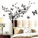 1 Set Zweig Schmetterlinge Wandaufkleber Schwarz Wanddeko Aufkleber Abziehbilder Dekorationen für Wohnung Schlafzimmer Raumdekoration Hochzeit Kinderzimmer