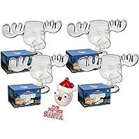 4er Set Elchgläer Moose Mug aus dem Film Schöne Bescherung inklusive Santa Pop Eyes Schlüsselanhänger Offiziell lizensiertes National Lampoon's Christmas Vacation Glas in Fotobox