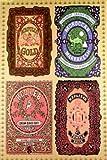 Empireposter - Dope - 4 Labels - Größe (cm), ca. 64x90 - Poster Fun-Poster Haschisch Cannabis Hanf Gras Marijuana