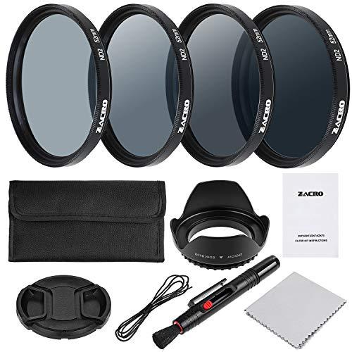 Zacro Kit di filtri fotografici da 52 (ND2 ND4 ND8 ND16 e accessori per fotocamera DSLR penna per obiettivo custodia per filtro paraluce
