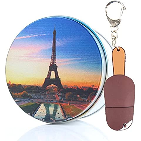 Anvor® Eiffel Tower ice-lolly ice Cream 32G USB Memory Stick Flash Drive Data Storage Device Pendant with Keychain & Metal Box Packing, Novelty Cute Gift / Present to Friends Kids Children 8G/16G/32G/64GB