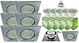Trango 6x LED Einbaustrahler Einbauleuchten Eckig aus Aluminum incl. 6x 6W LED Modul nur 3cm Einbautiefe TG6729-069SMO