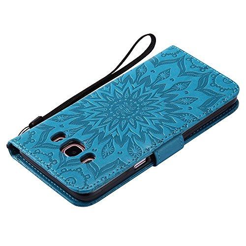 Für Samsung Galaxy J510 Fall, Prägen Sonnenblume Magnetische Muster Premium Soft PU Leder Brieftasche Stand Case Cover mit Lanyard & Halter & Card Slots ( Color : Green ) Blue