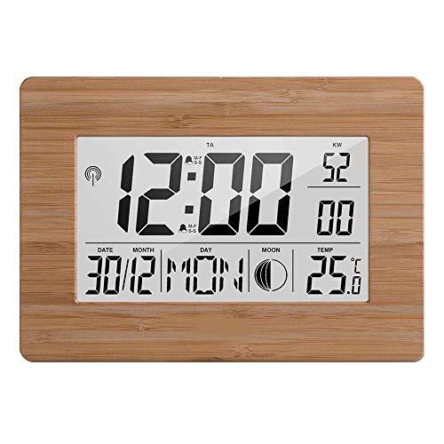 Große LED-Digital-Wall-Uhr UK Radio kontrolliert Atomic Auto Set Up Jumbo Display mit Dual Alarm Desktop Multi-Function Zeit Kalender Kalender Mond