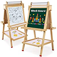 Arkmiido Kids Easel, Double-Sided Magnetic Drawing Board,Wooden Art Easel for Kids,Whiteboard & Chalkboard Easel with Eraser & Pack of Chalks and Cognitive Magnetic Stickers for 3+ Years.
