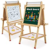 Tableau Enfants Bois 3 en 1, Arkmiido Tableau Double Face, Tableau Noir et Blanc, Tableau Magnétique en Bois avec Boîte de Rangement et Accessoires Jouet Educatif pour Enfants