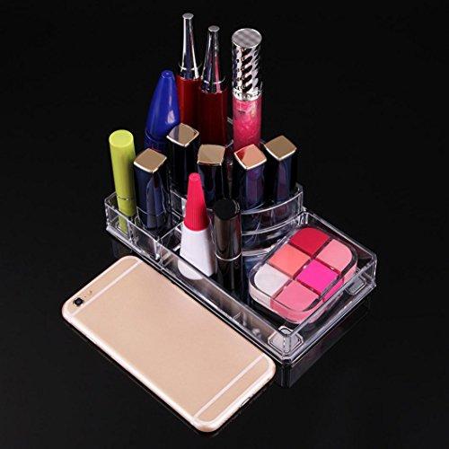 Moonuy Organisateur Acrylique de Qualité Stockage Transparent Rouge à lèvres Brosse à maquillage Vernis à ongles Support Boîte de Rangement Cosmétique Maquillage 8 cases (Transparent)