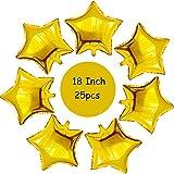 Gxhong Palloncino a Stella, 18 Pollici Oro Rosa Palloncini di Alluminio Palloncini Decorazioni per Festa, 25 Pezzi Stella Palloncini per Compleanno,Party,Matrimoni e Cerimonia Celebrazione (Oro)