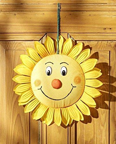 GKA XL Türhänger Sonne gelb mit lachendem Gesicht Türschmuck Türdekoration Türkranz Kranz 35 cm