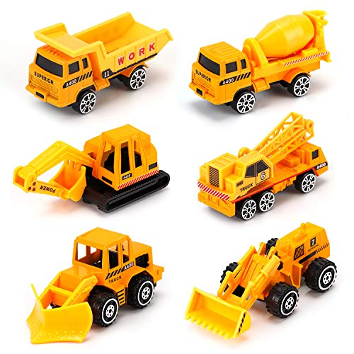 Alloy Engineering Truck Mini Pocket Size Construction Models Play Vehicles Toy Party Favors Cake Decorations Topper Birthday Gift for Kids ,6Pcs Set