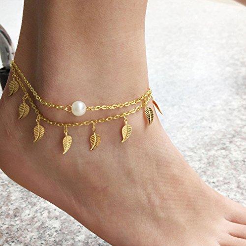 Yinew Perle Fußkettchen Sommer Schuhe Mode Damen Tragen Quasten überlagerten Blätter Perle Fußkettchen (Pairing Kostüm)