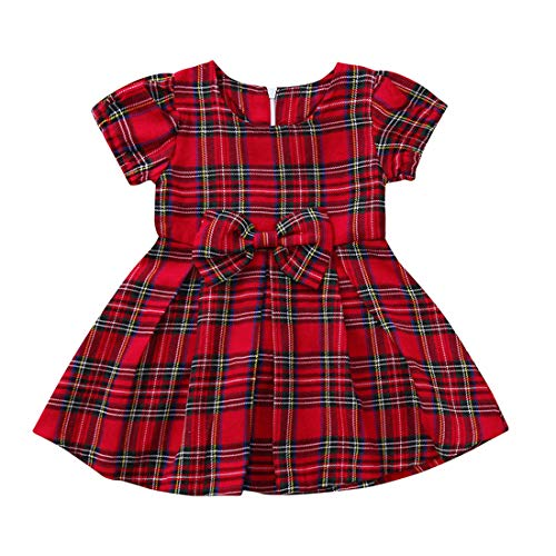 LENGIMA Kleinkind Baby Mädchen rot Plaid Tutu Kleid Kurz Ärmel Bogen Outfit Sommer Size 70(0-6M) (rot) - Rot Plaid Lounge