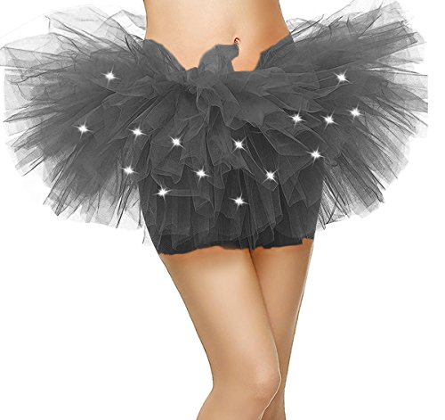 Comall Damen 5 Lagen LED Mini Tüll Tütü Rock Kostüm Party Tanz Abnutzungs Ballkleid Petticoat Unterrock Schwarz