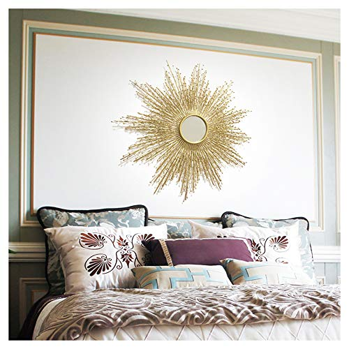 XM-MIRROR Runde Wandspiegel, kreative große Metall Sunburst dekorative Wandspiegel, Esszimmer, Wohnzimmer, Korridor Veranda Starburst dekorative hängenden Spiegel,Gold,60X60CM
