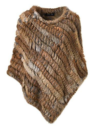 Ferand poncho mantella di vera pelliccia di coniglio lavorata a maglia scialle per donna - naturale