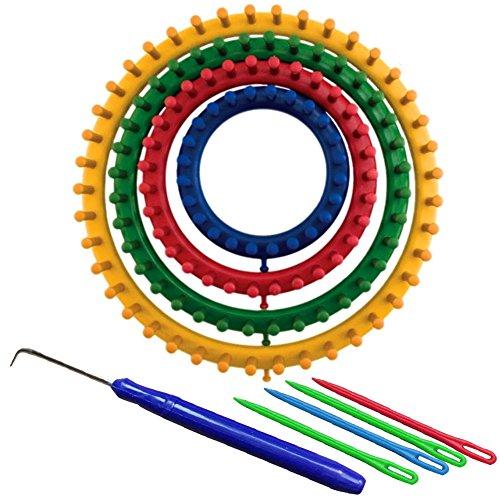Wildlead Neue 4 Teile / satz DIY Runde Kreis Hut Knitting Knitting Loom Kit 4 Größe 14 cm 19 cm 25 cm 30 cm (Tool Knitting Loom)
