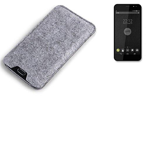 K-S-Trade Filz Schutz Hülle für Shift Shift4 Schutzhülle Filztasche Filz Tasche Case Sleeve Handyhülle Filzhülle grau