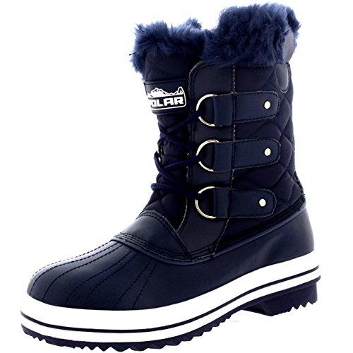 Damen Schnee Stiefel Nylon Short Schnee Pelz Regen Wasserdicht Stiefel Marine