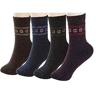 4 Pairs Wool Socks For Womens, Warm Sports Socks, Winter Soft Thick Warm Hiker Boot Crew Socks, Thermal Warm Sock for Ladies 2
