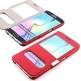 ScorpioCover Schutz Hülle mit Magnet Verschluss für Samsung Galaxy S5 Mini Double View Cover Sichtfenster Case rot