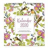 Dekorativer Wandkalender 2020, praktischer Monatsplaner zum Aufhängen mit floralen Motiven, 12 Monatsseiten mit extra viel Platz zum Termine eintragen
