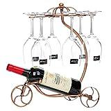 Weinregal mit Glashalter für 1 Flaschen und 6 Stemware, Eisen Streitwagen Design Flaschenregal und Weinglas Rack, Stemware Rack und Weinflaschenregal (Bronze)