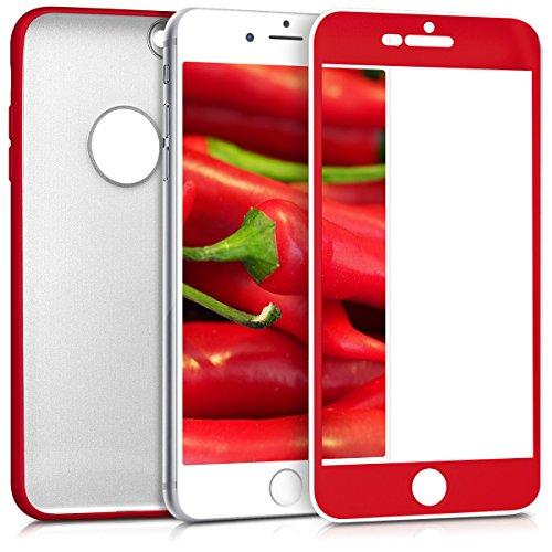 Custodia per apple iphone 6 plus / 6s plus - kwmobile cover protettiva fronte retro per cellulare in tpu silicone - back case protezione 360 gradi rosso scuro metallizzato