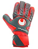 UHLSPORT - AERORED SOFT HN COMP - Gant gardien football - Paume Latex Soft - Coupe Semi-Négative - Homme - Gris (Gris Foncé/Rouge Fluo/Blanc) - Taille: 10.5