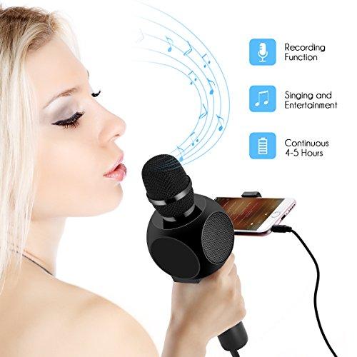 Drahtlose Bluetooth Karaoke Mikrofon Lautsprecher HURRISE Echo Rauschunterdrückung Mikrofon mit Aufnahme von Sprach für Smartphone iPad PC (Schwarz) - 4