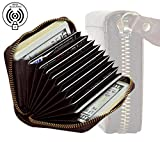 #6: RFID Blocking Vintage Leather 11 Slots Credit Card Holder Wallet for Women Men Coin Purse Zipper Small Secure Card Case/Gift