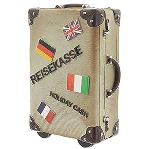 wurmbigdean Spardose Koffer in Leder-Braun aus Polyresin – 15 x 10 x 5,5 cm – Reisekasse für Geldsparer – Robust…