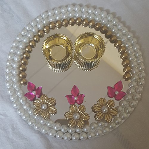 Anaya-Studio-Acrylic-Mirror-Haldi-Kumkum-Pooja-Thal-6-inch-White