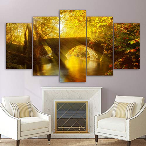 ASDZXC Leinwand Malerei Moderne Kunst Wand Live 5 Stücke Sonne Brücke Herbst Dekoration Landschaft Bilder Landschaftsmalerei