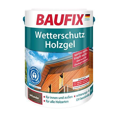 BAUFIX Wetterschut z-Holzgel Palisander, Holzlasur, Holzschutz für alle Holzarten, seidenglänzend, für innen & außen,