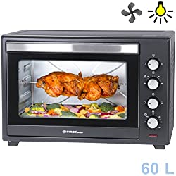 Horno eléctrico 60 litros con bandeja colectora | Iluminación interior | Ventilación | Espacio para 2 pizzas en una parrilla | Espetón giratorio| Puerta de doble cristal | Mini horno para pizzas |